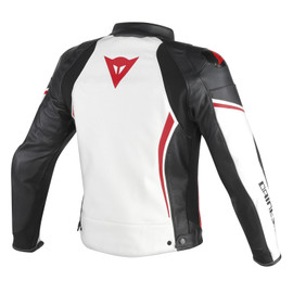 ASSEN LEATHER JACKET WHITE/BLACK/RED-LAVA- Jackets