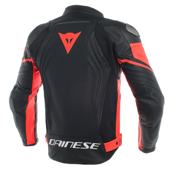 RACING 3 PERF. LEATHER JACKET BLACK/BLACK/FLUO-RED- Pelle