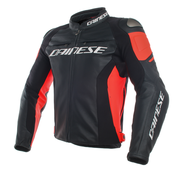 RACING 3 LEATHER JACKET BLACK/BLACK/FLUO-RED- Pelle
