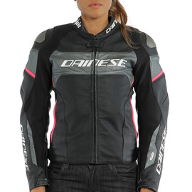 RACING 3 D-AIR LADY LEATHER JACKET BLACK/ANTHRACITE/FUCHSIA- Women Jackets