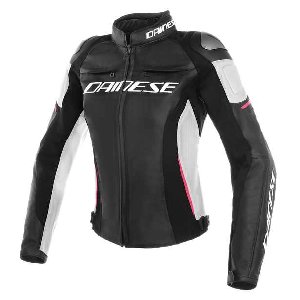 RACING 3 PERF. LADY LEATHER JACKET BLACK/WHITE/FUCHSIA- Leather