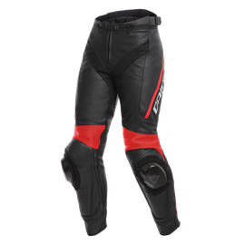 DELTA 3 LADY LEATHER PANTS BLACK/BLACK/FLUO-RED- Leder