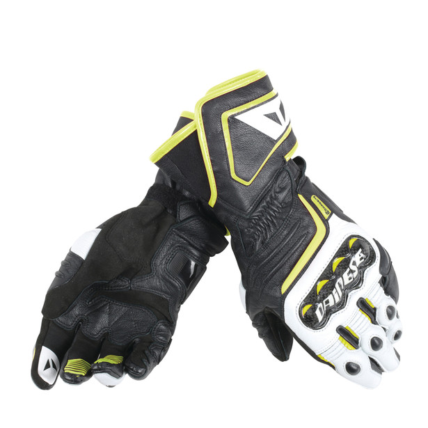 CARBON D1 LONG GLOVES BLACK/WHITE/FLUO-YELLOW- Cuir