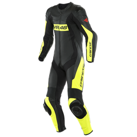TUTA IN PELLE PERFORATA INTERA VR46 TAVULLIA  BLACK/FLUO-YELLOW