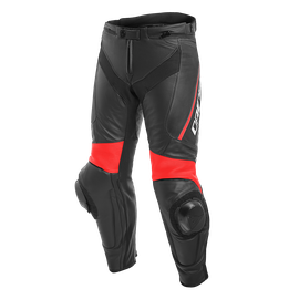 DELTA 3 LEATHER PANTS BLACK/BLACK/FLUO-RED