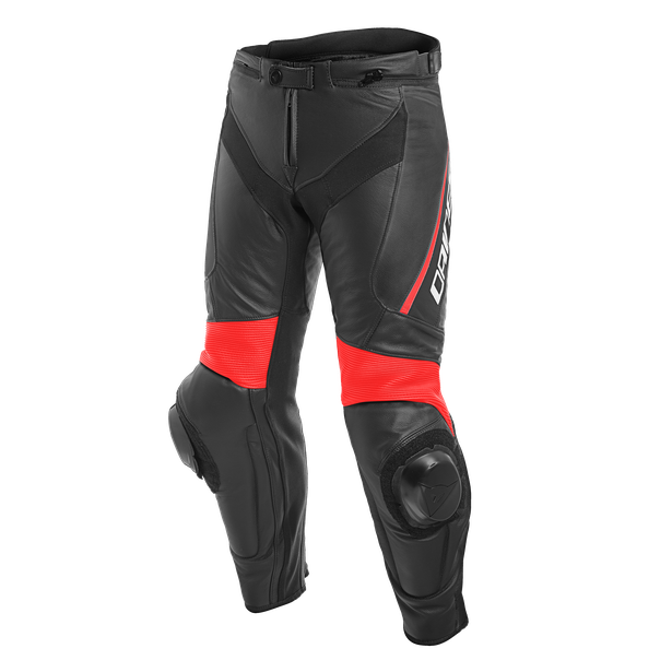 DELTA 3 LEATHER PANTS BLACK/BLACK/FLUO-RED- Piel