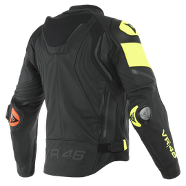 VR46 VICTORY LEATHER JACKET BLACK/FLUO-YELLOW- undefined