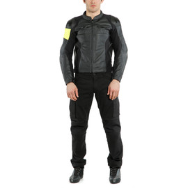 VR46 POLE POSITION LEATHER JACKET BLACK/FLUO-YELLOW- undefined