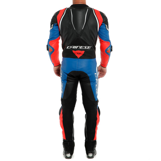 LAGUNA SECA 4 1PC PERF. LEATHER SUIT BLACK/WHITE/LIGHT-BLUE- Professionali