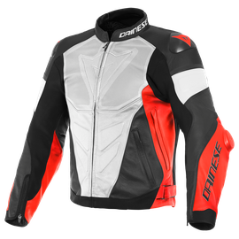 SUPER RACE PERF. LEATHER JACKET WHITE/FLUO-RED/BLACK-MATT- Pelle
