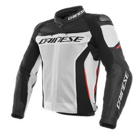 RACING 3 PERF. LEATHER JACKET WHITE/BLACK/RED- Piel
