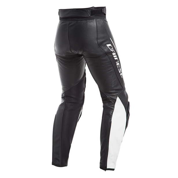 ASSEN LADY LEATHER PANTS BLACK/WHITE- Leder
