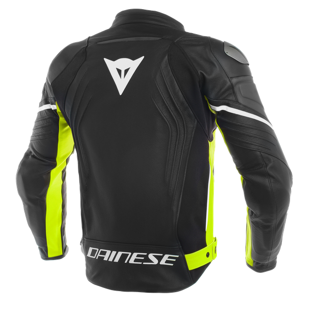 RACING 3 LEATHER JACKET BLACK/BLACK/FLUO-YELLOW- Leather