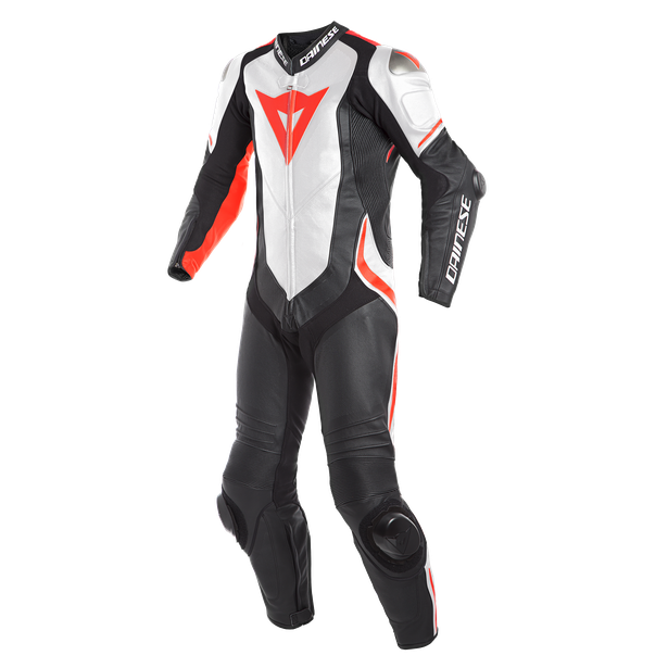 LAGUNA SECA 4 1PC PERF. LEATHER SUIT BLACK/WHITE/FLUO-RED- Promozioni Tute in pelle