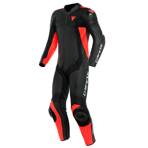 ASSEN 2 1 PC. PERF. LEATHER SUIT BLACK/BLACK/FLUO-RED- Einteiler