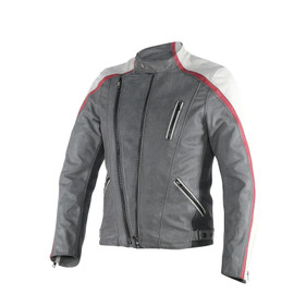 MING LEATHER JACKET QUING-GRAY/WHITE/CINO-BURGUNDY