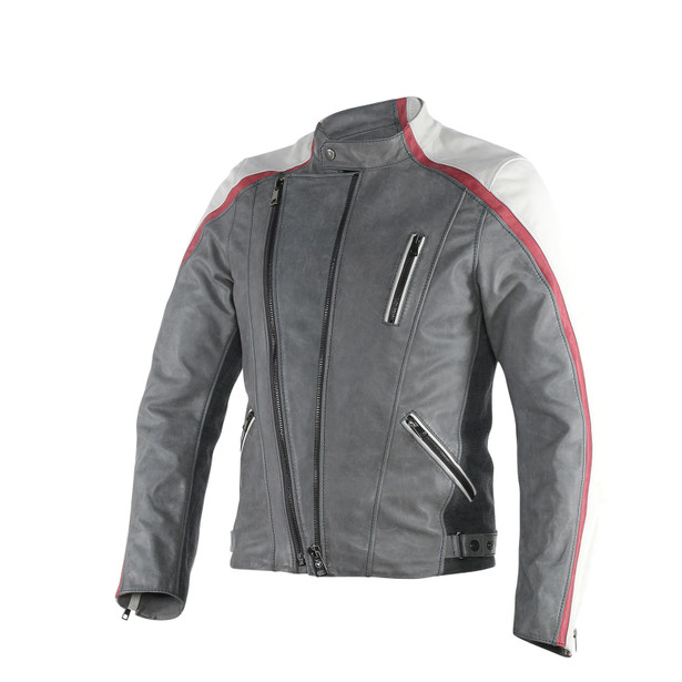 MING LEATHER JACKET QUING-GRAY/WHITE/CINO-BURGUNDY- Blousons