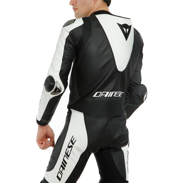 LAGUNA SECA 5 1PC LEATHER SUIT PERF. S/T BLACK/WHITE- Monos