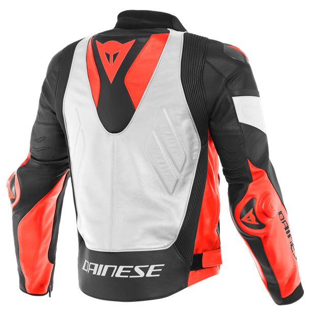 SUPER RACE LEATHER JACKET WHITE/FLUO-RED/BLACK-MATT- Leder