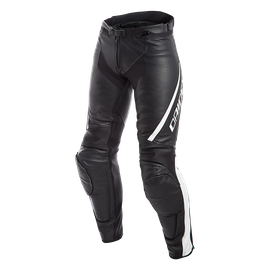 ASSEN LADY LEATHER PANTS BLACK/WHITE- Pelle