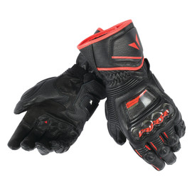 DRUID D1 LONG GLOVES BLACK/BLACK/FLUO-RED- Leder