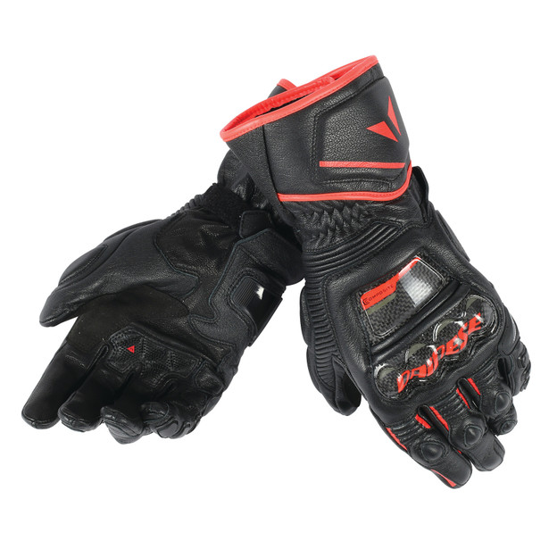 DRUID D1 LONG GLOVES BLACK/BLACK/FLUO-RED- Cuir