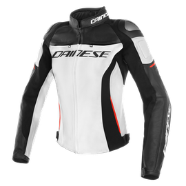 RACING 3 LADY LEATHER JACKET WHITE/BLACK/RED- Leather