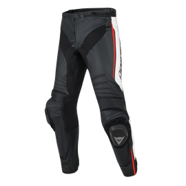 MISANO PERFORATED LEATHER PANTS BLACK/WHITE/RED-FLUO- Leather