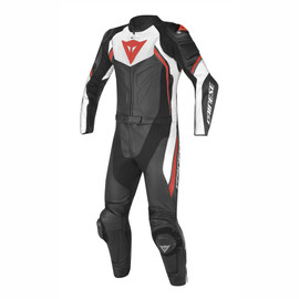 AVRO D2 2PCS PERFORATED SUIT BLACK/WHITE/RED-FLUO