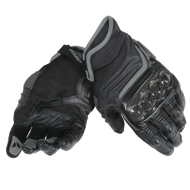CARBON D1 SHORT GLOVES BLACK/BLACK/BLACK- Leather