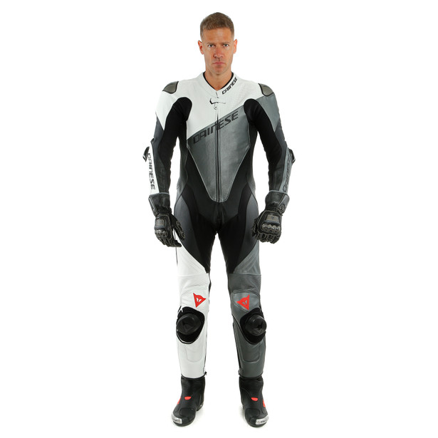 IMOLA 1PC LEATHER SUIT PERF. BLACK/WHITE/ANTHRACITE- Leather Suits