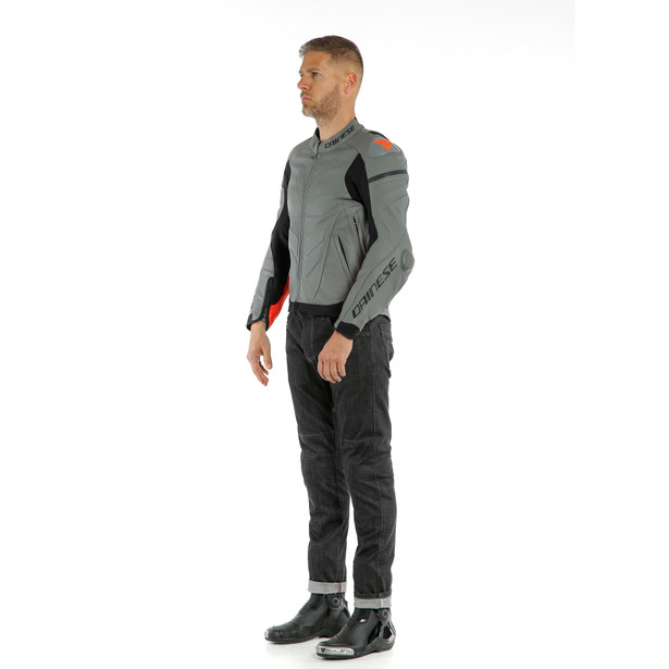 SUPER RACE LEATHER JACKET CHARCOAL-GRAY/CH.-GRAY/FLUO-RED- Leder