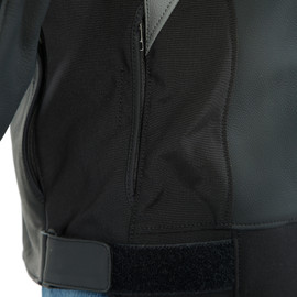 AGILE LEATHER JACKET BLACKBLACK-MATT/CHARCOAL-GRAY/BLACK-MATT- Leder