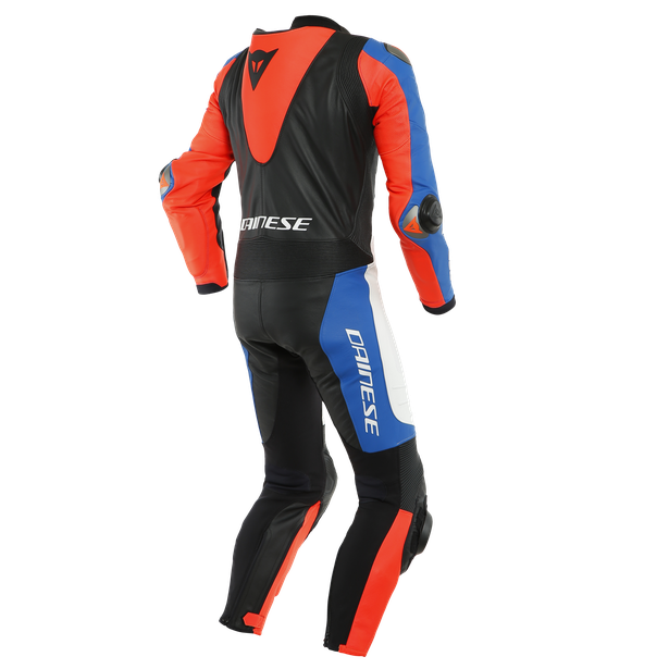 LAGUNA SECA 5 1PC LEATHER SUIT PERF. WHITE/LIGHT-BLUE/BLACK/FLUO-RED- Tute in pelle