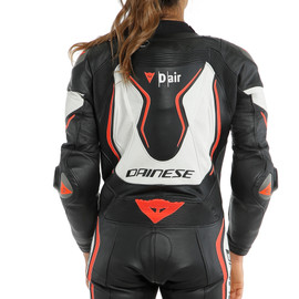 MISANO 2 LADY D-AIR PERF. 1PC SUIT BLACK/WHITE/FLUO-RED- D-air