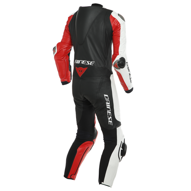 ADRIA 1PC LEATHER SUIT PERF. WHITE/LAVA-RED/BLACK- Leather Suits