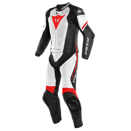 LAGUNA SECA 4 2PCS PERF. SUIT BLACK-MATT/WHITE/FLUO-RED- Two Piece Suits