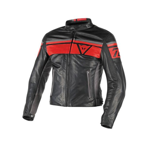 BLACKJACK LEATHER JACKET BLACK/RED/SMOKE- Leather
