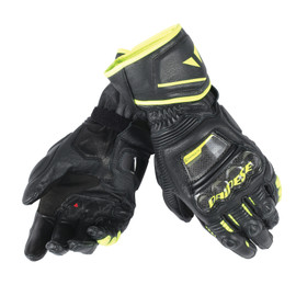 DRUID D1 LONG GLOVES BLACK/BLACK/FLUO-YELLOW- Pelle