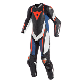 KYALAMI  1PC PERF. LEATHER SUIT BLACK/WHITE/BLUE