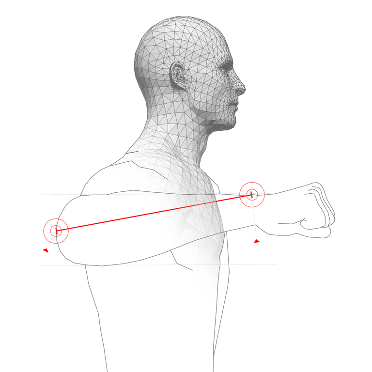 FROM CENTRE OF ELBOW TO WRIST