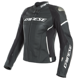 RACING 3 D-AIR LADY LEATHER JACKET BLACK-MATT/BLACK-MATT/PEARL-WHITE