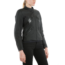 SANTA MONICA LADY LEATHER JACKET PERF. BLACK- Women Jackets