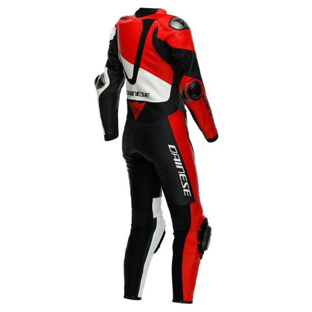 IMOLA LADY 1PC LEATHER SUIT PERF. BLACK/WHITE/LAVA-RED- Women Leather Suits