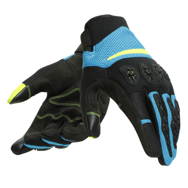 AEROX UNISEX GLOVES BLACK/FIRE-BLUE/FLUO-YELLOW- Guantes