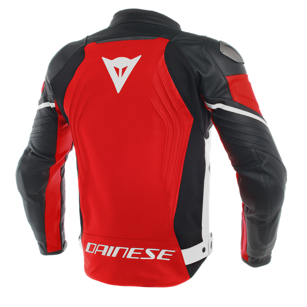 RACING 3 LEATHER JACKET RED/BLACK/WHITE- Leather