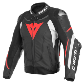 SUPER SPEED 3 PERF. LEATHER JACKET BLACK/WHITE/FLUO-RED- Leather