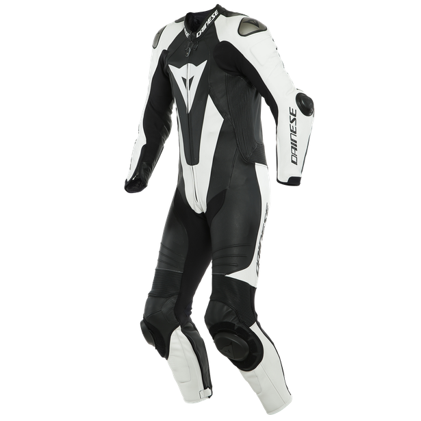 LAGUNA SECA 5 1PC LEATHER SUIT PERF. BLACK/WHITE- Tute in pelle