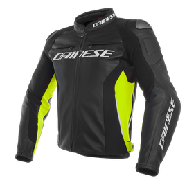 RACING 3 LEATHER JACKET BLACK/BLACK/FLUO-YELLOW- Piel