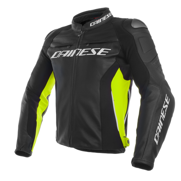 RACING 3 LEATHER JACKET BLACK/BLACK/FLUO-YELLOW- Leder